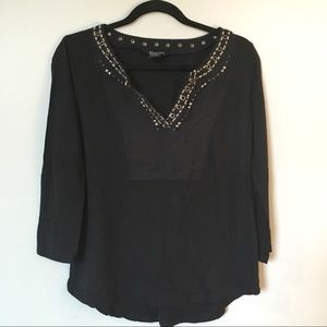 {Lucky Brand} Black top embroidered collar detail